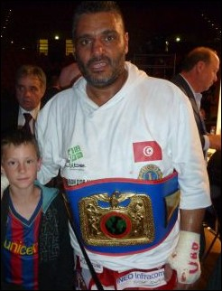 New UBO International Cruiserweight Champion Mohamed Dridi with a young fan
